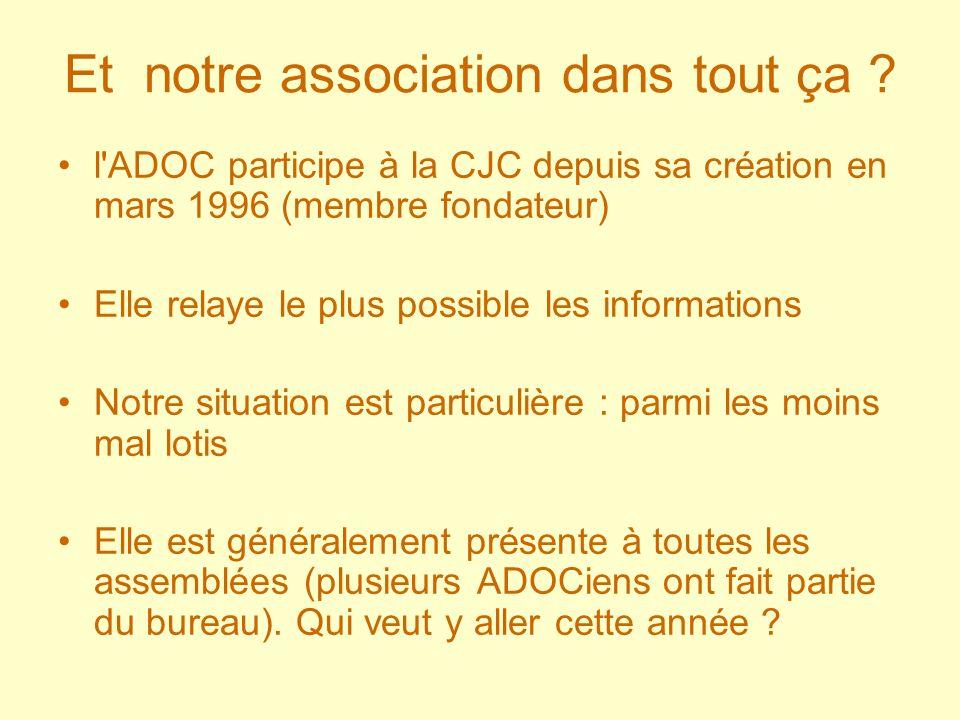 Et notre association dans tout ça ? l'ADOC participe à la CJC depuis sa création en mars 1996 (membre fondateur) Elle relaye le plus possible les info