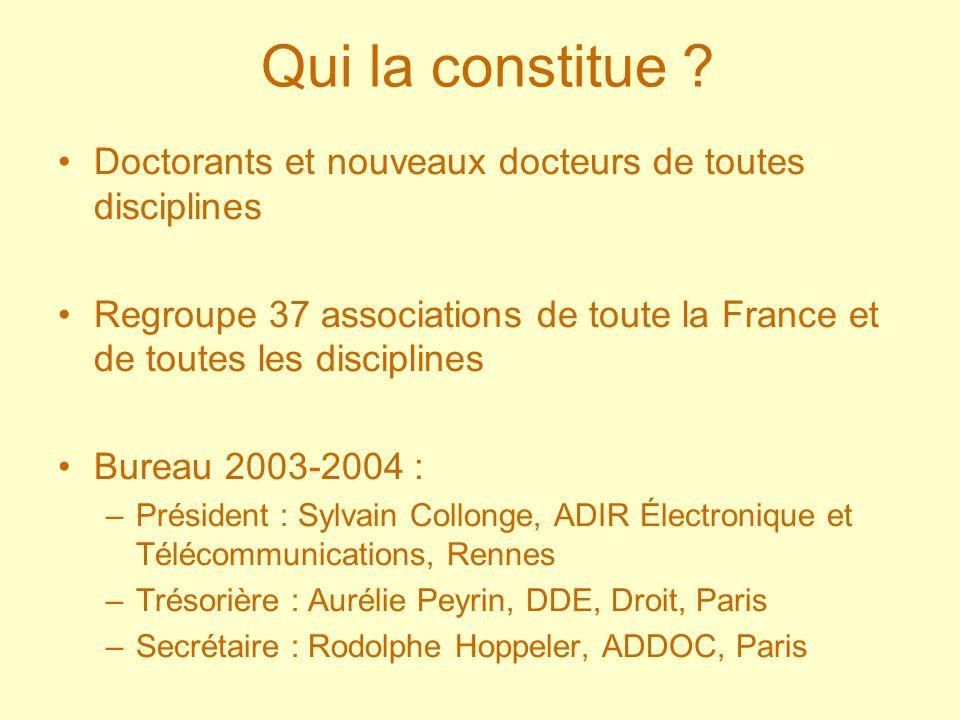 Qui la constitue ? Doctorants et nouveaux docteurs de toutes disciplines Regroupe 37 associations de toute la France et de toutes les disciplines Bure