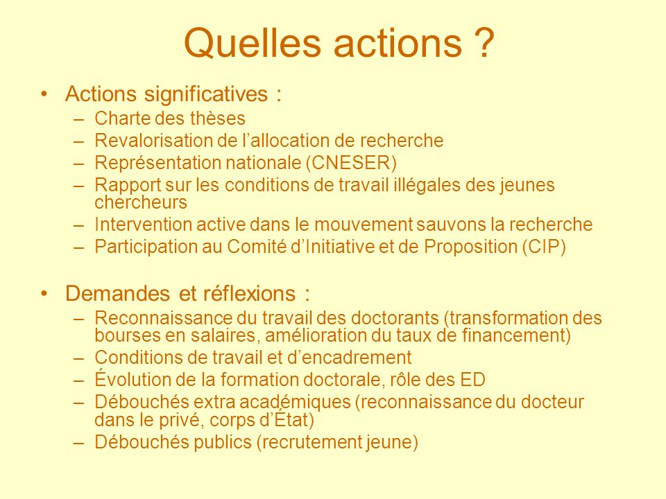 Quelles actions ? Actions significatives : –Charte des thèses –Revalorisation de lallocation de recherche –Représentation nationale (CNESER) –Rapport