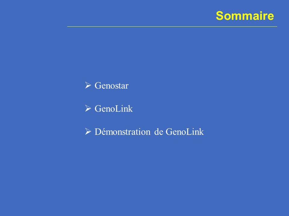 Sommaire Genostar GenoLink Démonstration de GenoLink