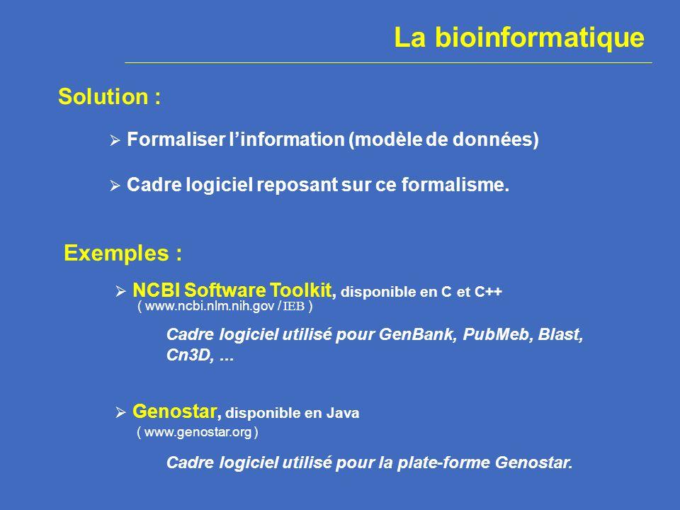 plate-forme logicielle de génomique exploratoire Genostar : Consortium public/privé créé en 2000 par lINRIA, lInstitut Pasteur, Genome Express et Hybrigenics.