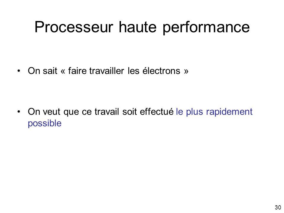 30 Processeur haute performance On sait « faire travailler les électrons » On veut que ce travail soit effectué le plus rapidement possible