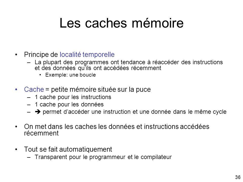 36 Les caches mémoire Principe de localité temporelle –La plupart des programmes ont tendance à réaccéder des instructions et des données quils ont ac