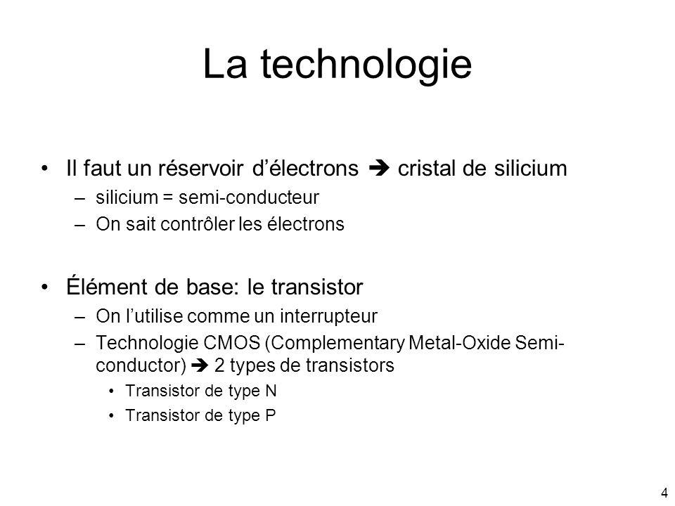 4 La technologie Il faut un réservoir délectrons cristal de silicium –silicium = semi-conducteur –On sait contrôler les électrons Élément de base: le