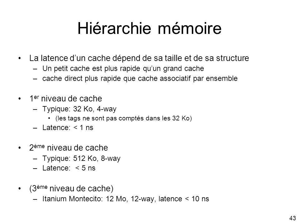 43 Hiérarchie mémoire La latence dun cache dépend de sa taille et de sa structure –Un petit cache est plus rapide quun grand cache –cache direct plus