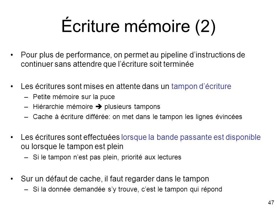 47 Écriture mémoire (2) Pour plus de performance, on permet au pipeline dinstructions de continuer sans attendre que lécriture soit terminée Les écrit