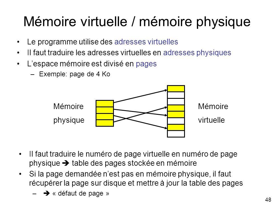 48 Mémoire virtuelle / mémoire physique Le programme utilise des adresses virtuelles Il faut traduire les adresses virtuelles en adresses physiques Le
