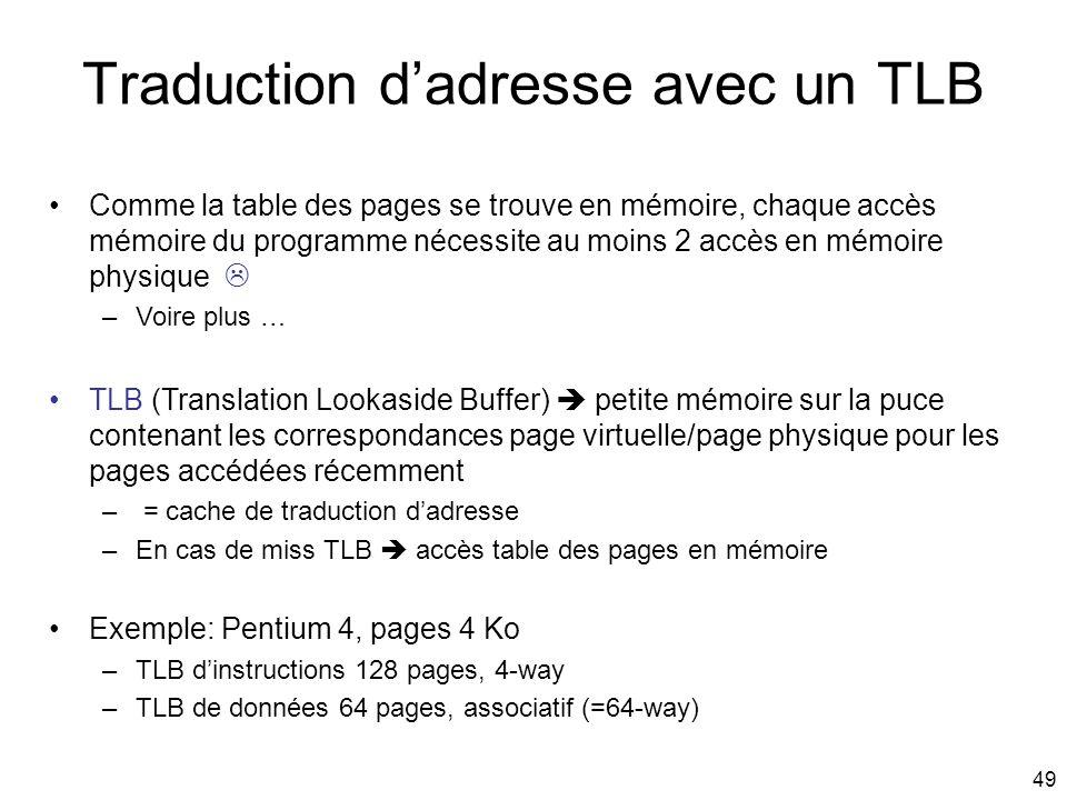 49 Traduction dadresse avec un TLB Comme la table des pages se trouve en mémoire, chaque accès mémoire du programme nécessite au moins 2 accès en mémo