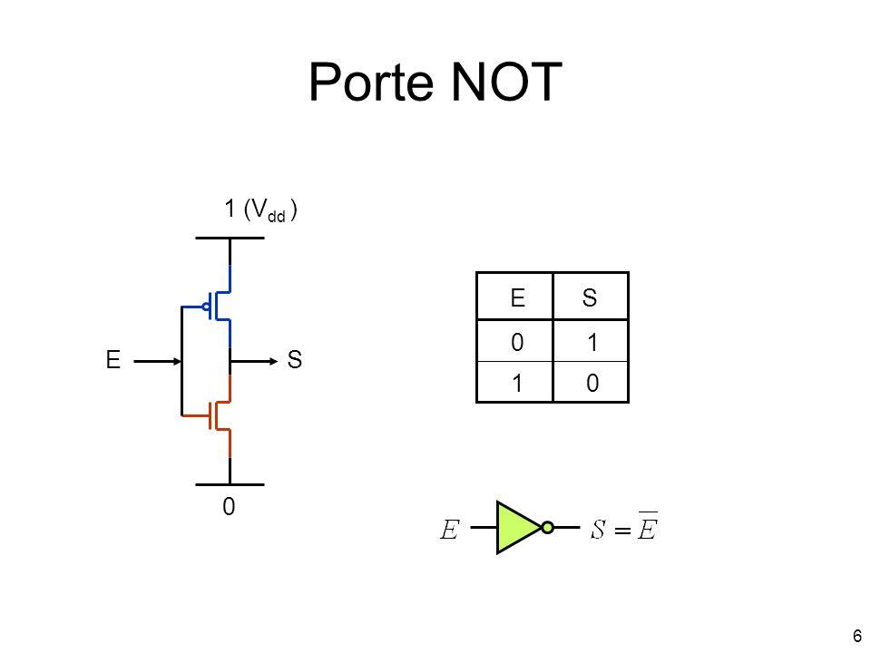 7 Porte NAND 1 (V dd ) 0 E1 E2 S E1E2S 00 1 1 0 0 0 1 1 1 1 1 E1 S E2 Si on force une des entrées à 1, on obtient un NOT