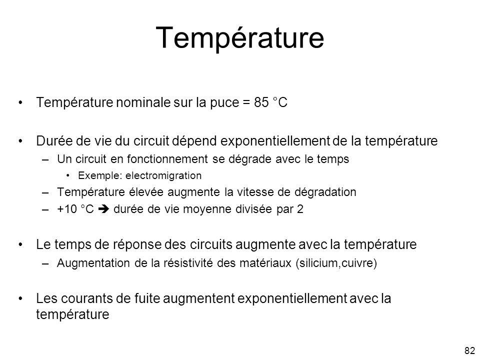 82 Température Température nominale sur la puce = 85 °C Durée de vie du circuit dépend exponentiellement de la température –Un circuit en fonctionneme