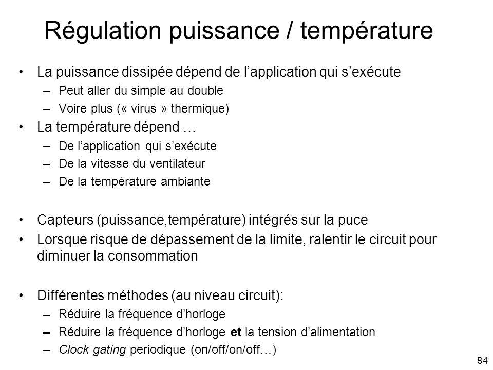 84 Régulation puissance / température La puissance dissipée dépend de lapplication qui sexécute –Peut aller du simple au double –Voire plus (« virus »