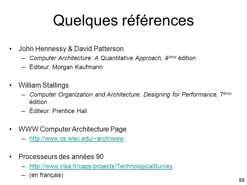 86 Quelques références John Hennessy & David Patterson –Computer Architecture: A Quantitative Approach, 4 ème édition –Éditeur: Morgan Kaufmann Willia