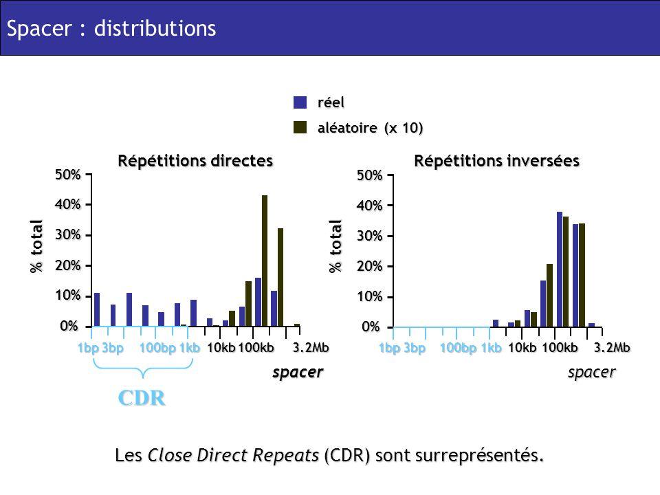 Les Close Direct Repeats (CDR) sont surreprésentés.