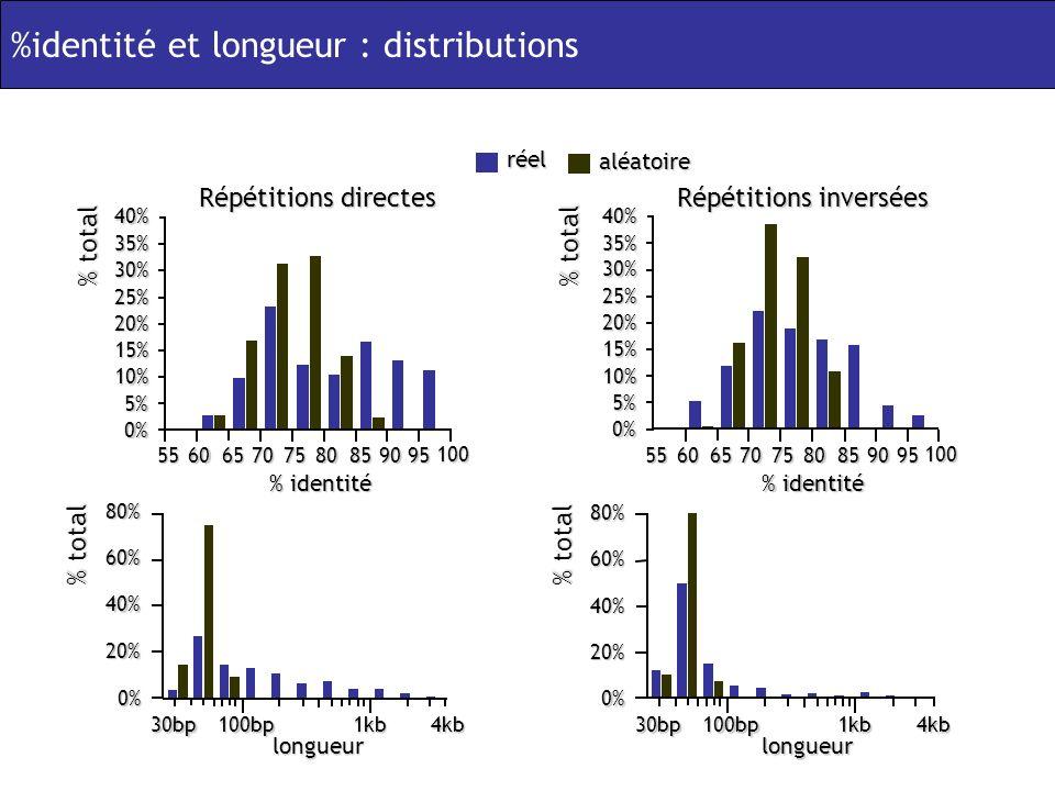 % total % identité 556065707580859095 100 0% 5% 10% 15% 20% 25% 30% 35% 40% % total 556065707580859095 100 0% 5% 10% 15% 20% 25% 30% 35%40% Répétitions directes Répétitions inversées réel aléatoire %identité et longueur : distributions