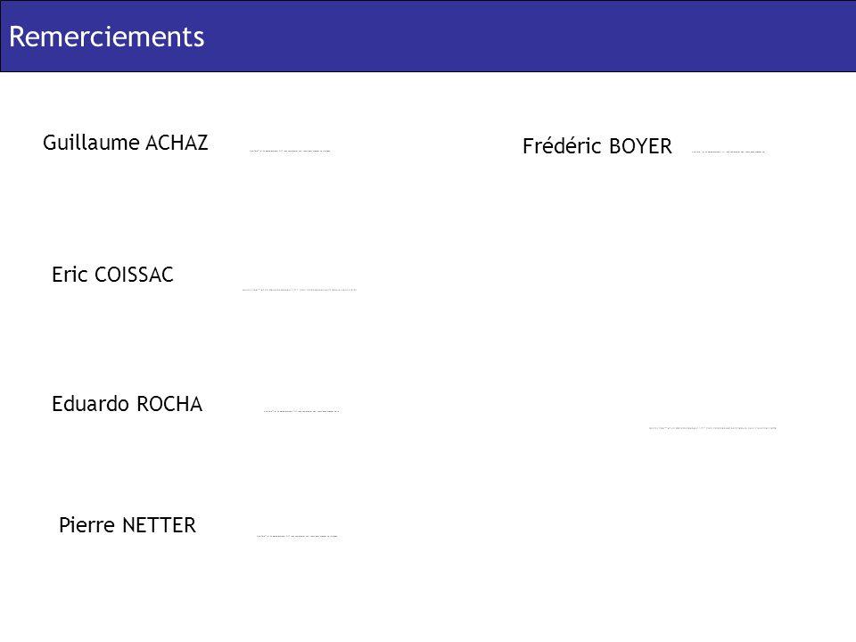 Remerciements Guillaume ACHAZ Eric COISSAC Eduardo ROCHA Frédéric BOYER Pierre NETTER