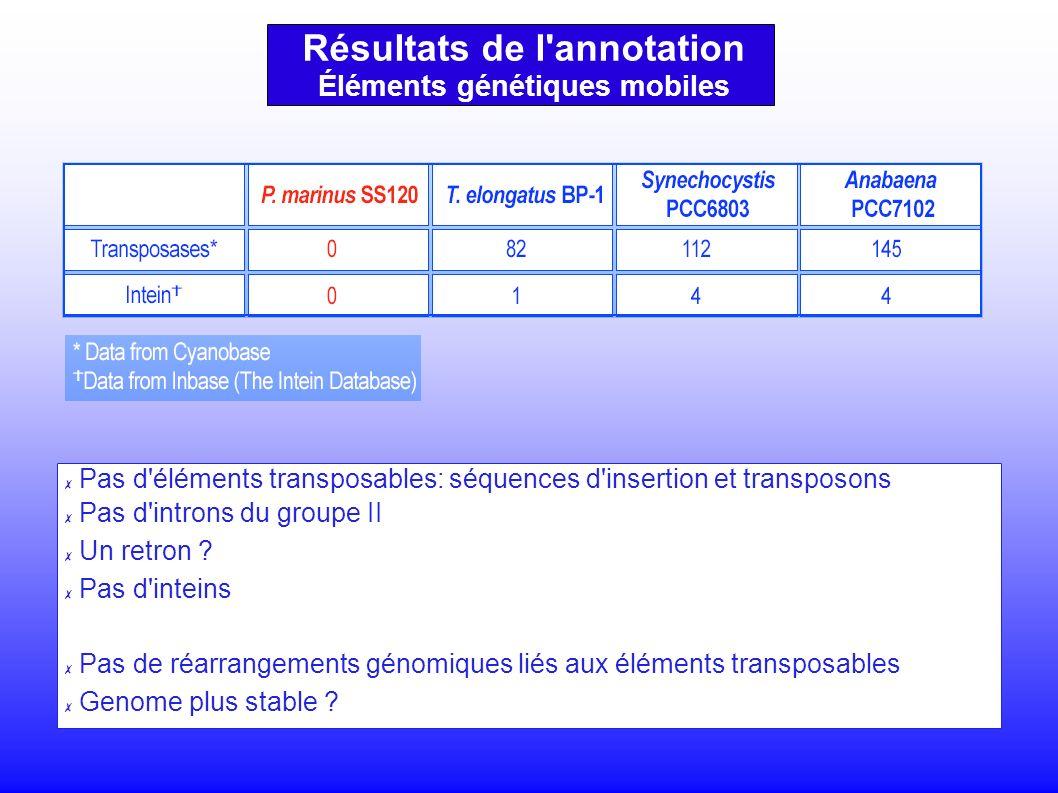 Résultats de l annotation Éléments génétiques mobiles Pas d éléments transposables: séquences d insertion et transposons Pas d introns du groupe II Un retron .