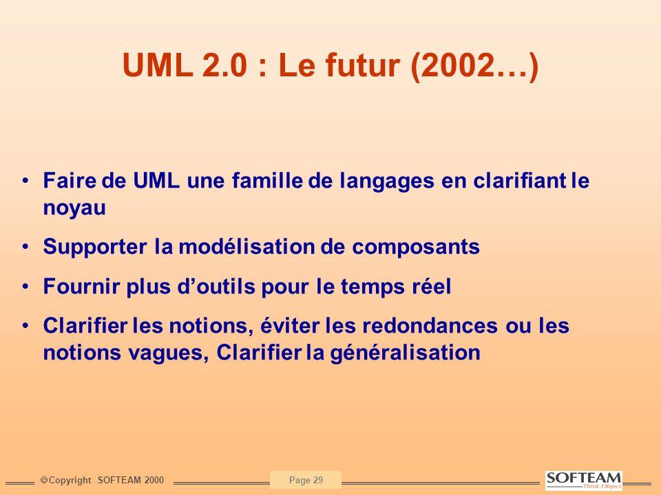 Copyright SOFTEAM 2000 Page 29 UML 2.0 : Le futur (2002…) Faire de UML une famille de langages en clarifiant le noyau Supporter la modélisation de com