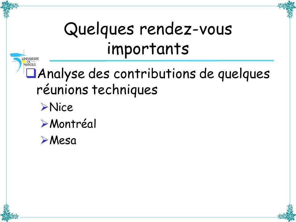 Quelques rendez-vous importants Analyse des contributions de quelques réunions techniques Nice Montréal Mesa
