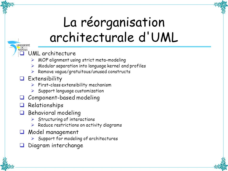 La réorganisation architecturale d'UML UML architecture MOF alignment using strict meta-modeling Modular separation into language kernel and profiles