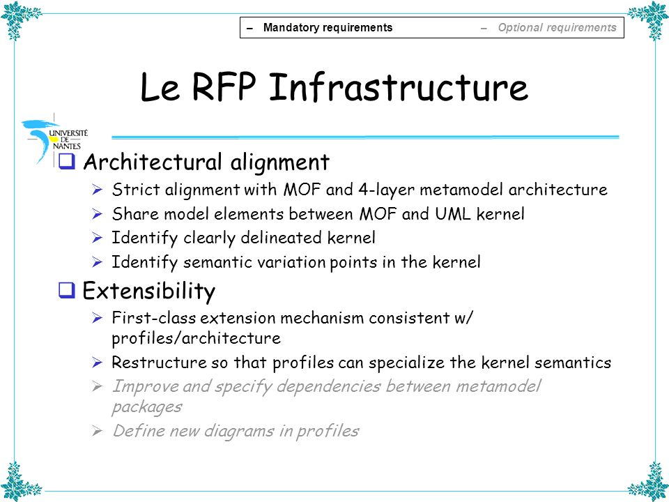 Le RFP Infrastructure Architectural alignment Strict alignment with MOF and 4-layer metamodel architecture Share model elements between MOF and UML ke