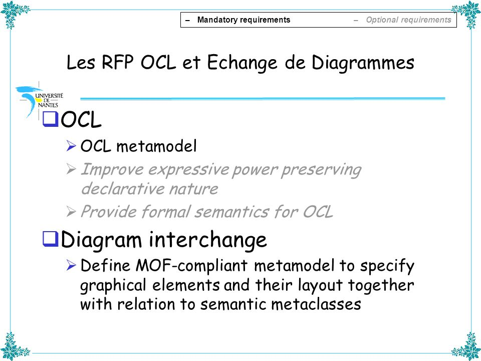 Les RFP OCL et Echange de Diagrammes OCL OCL metamodel Improve expressive power preserving declarative nature Provide formal semantics for OCL Diagram