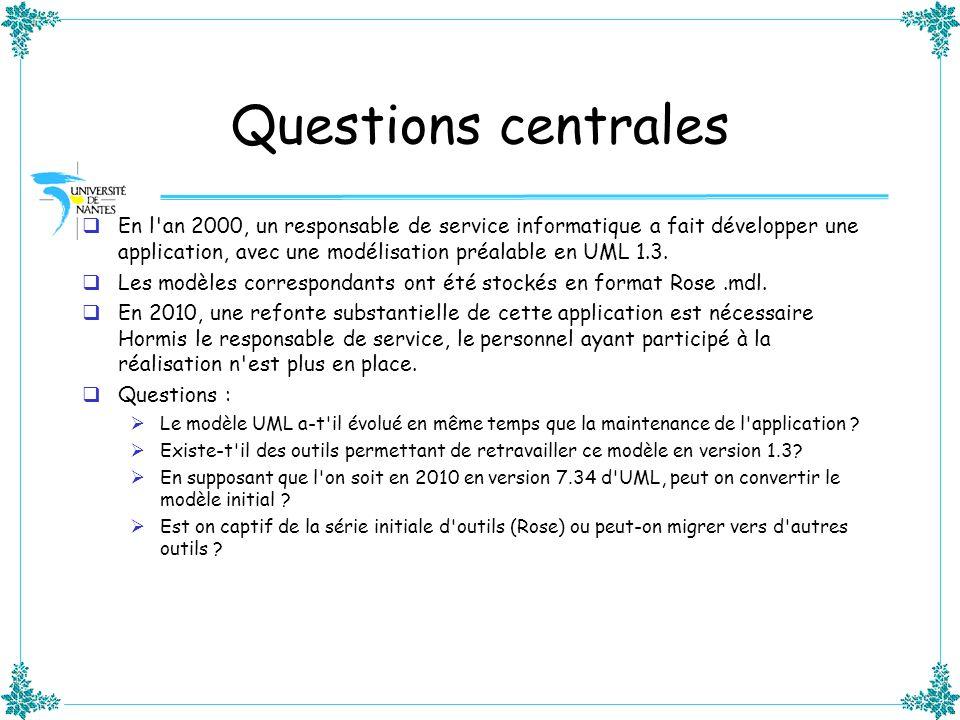 Questions centrales En l'an 2000, un responsable de service informatique a fait développer une application, avec une modélisation préalable en UML 1.3