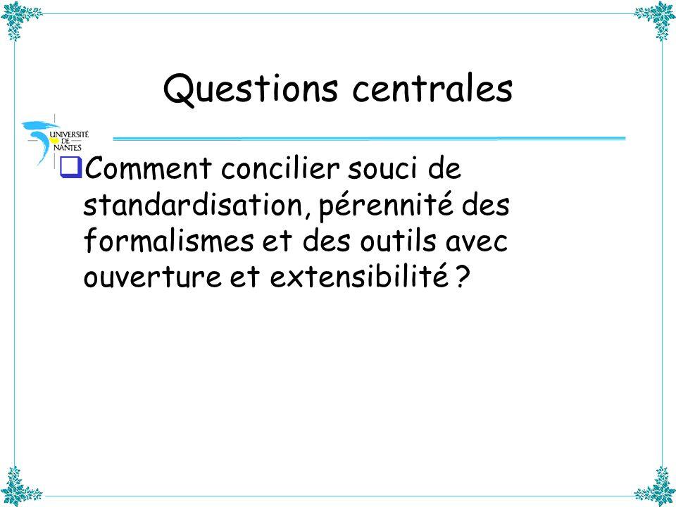 Questions centrales Comment concilier souci de standardisation, pérennité des formalismes et des outils avec ouverture et extensibilité ?