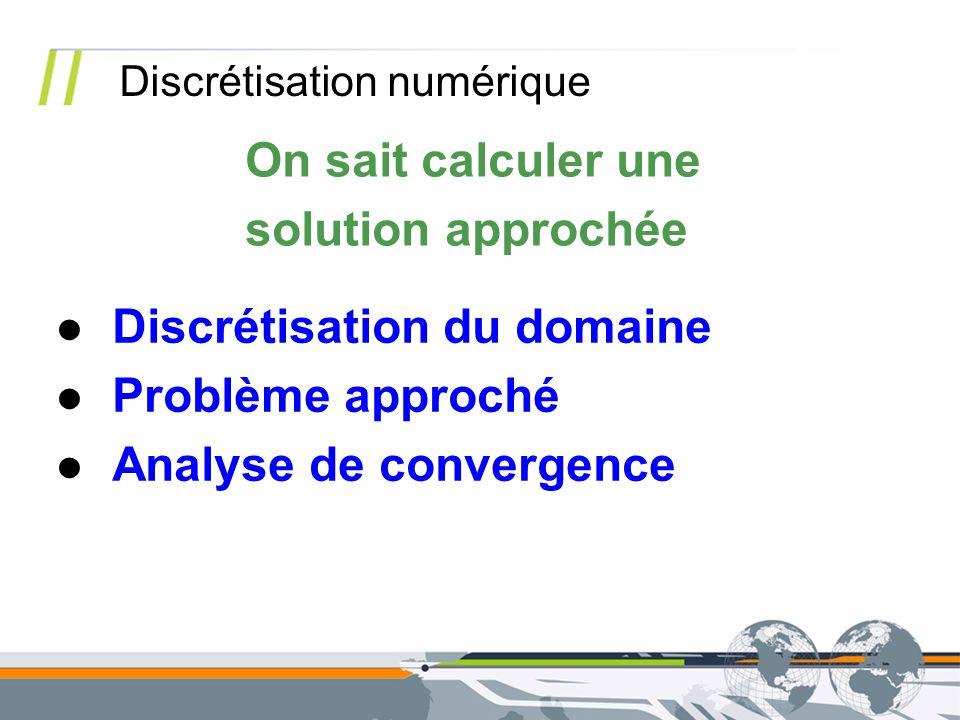 On sait calculer une solution approchée Discrétisation numérique Discrétisation du domaine Problème approché Analyse de convergence