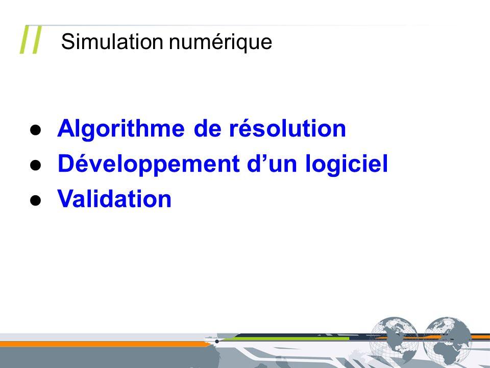 Simulation numérique Algorithme de résolution Développement dun logiciel Validation