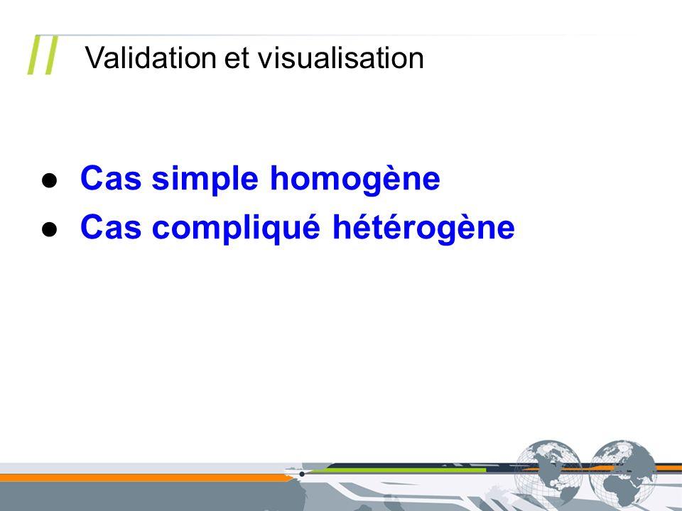 Validation et visualisation Cas simple homogène Cas compliqué hétérogène