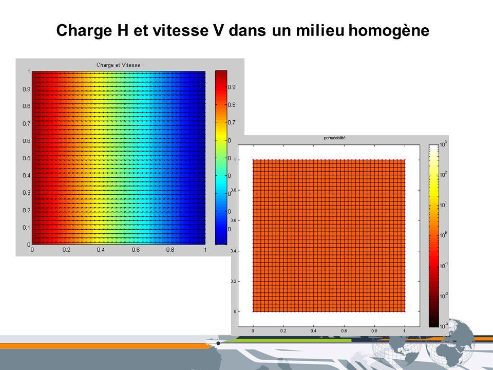 Charge H et vitesse V dans un milieu homogène
