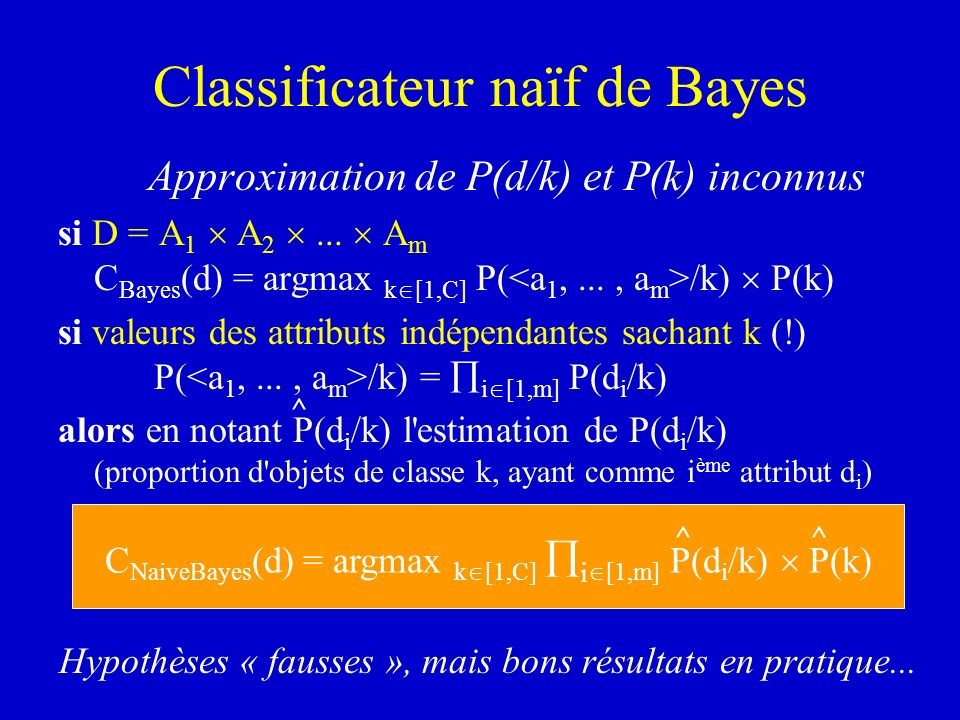 Classificateur naïf de Bayes Approximation de P(d/k) et P(k) inconnus si D = A 1 A 2... A m C Bayes (d) = argmax k [1,C] P( /k) P(k) si valeurs des at