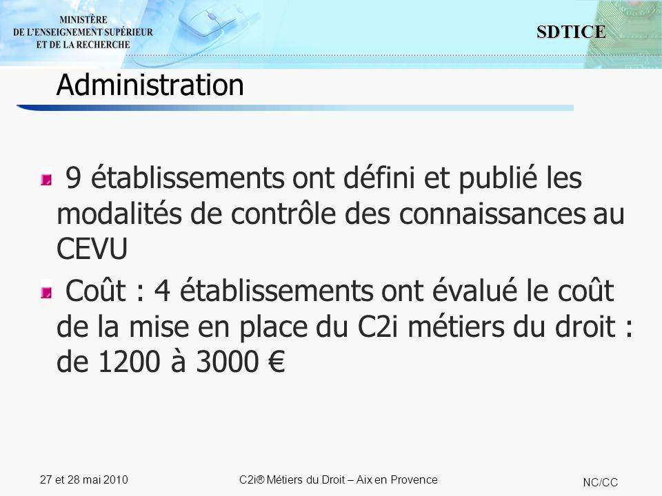 10 SDTICE NC/CC 27 et 28 mai 2010C2i® Métiers du Droit – Aix en Provence 9 établissements ont défini et publié les modalités de contrôle des connaissances au CEVU Coût : 4 établissements ont évalué le coût de la mise en place du C2i métiers du droit : de 1200 à 3000 Administration