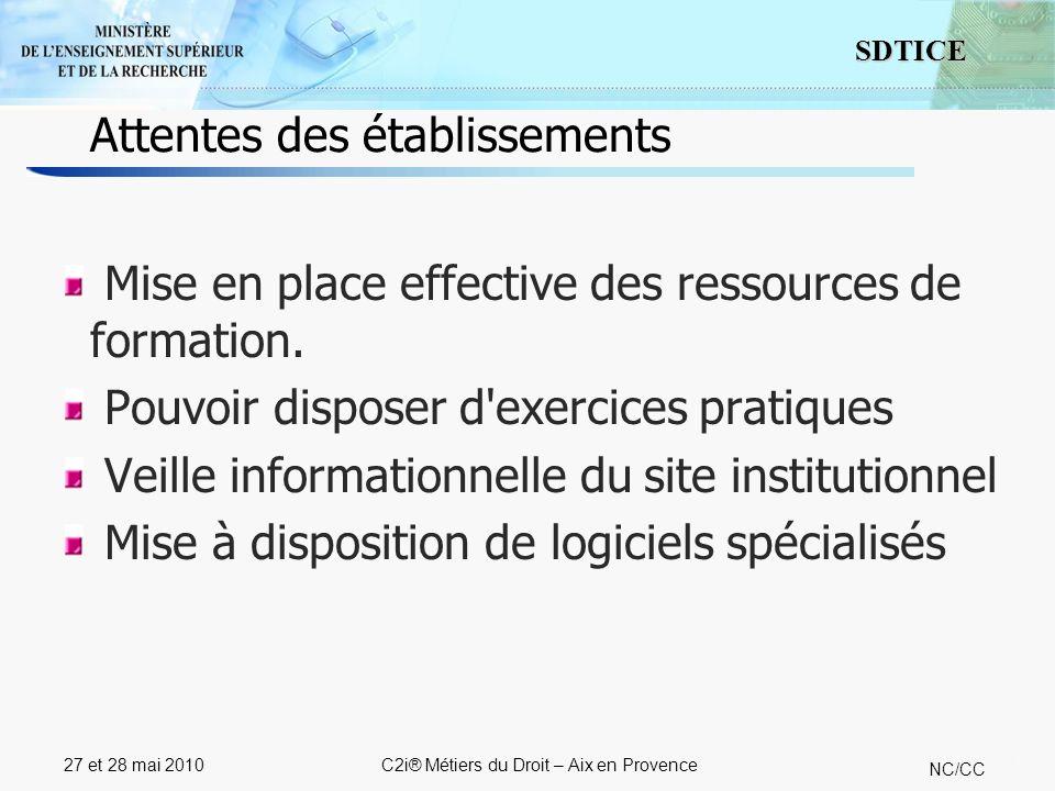 11 SDTICE NC/CC 27 et 28 mai 2010C2i® Métiers du Droit – Aix en Provence Mise en place effective des ressources de formation. Pouvoir disposer d'exerc