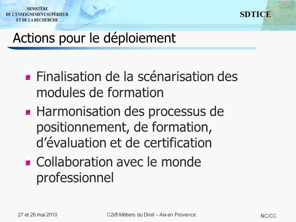13 SDTICE NC/CC 27 et 28 mai 2010C2i® Métiers du Droit – Aix en Provence Actions pour le déploiement Finalisation de la scénarisation des modules de f