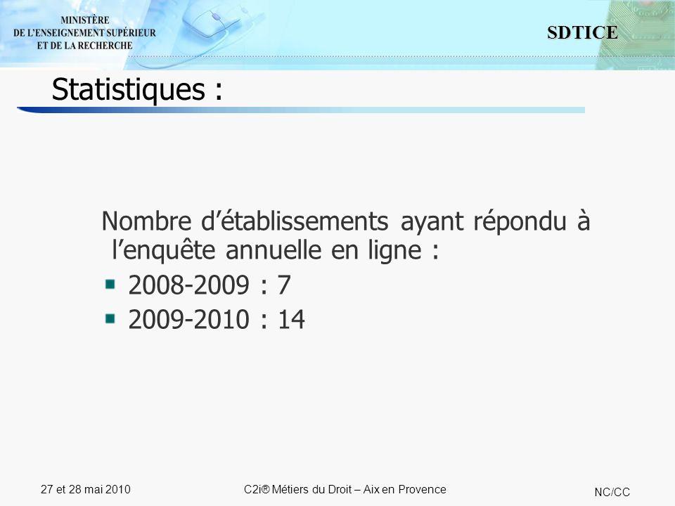 5 SDTICE NC/CC 27 et 28 mai 2010C2i® Métiers du Droit – Aix en Provence Statistiques : Nombre détablissements ayant répondu à lenquête annuelle en ligne : 2008-2009 : 7 2009-2010 : 14