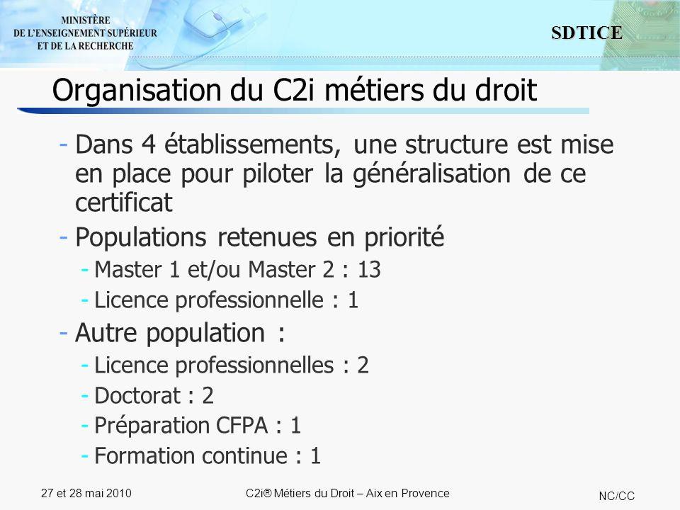 7 SDTICE NC/CC 27 et 28 mai 2010C2i® Métiers du Droit – Aix en Provence Organisation du C2i métiers du droit -Dans 4 établissements, une structure est