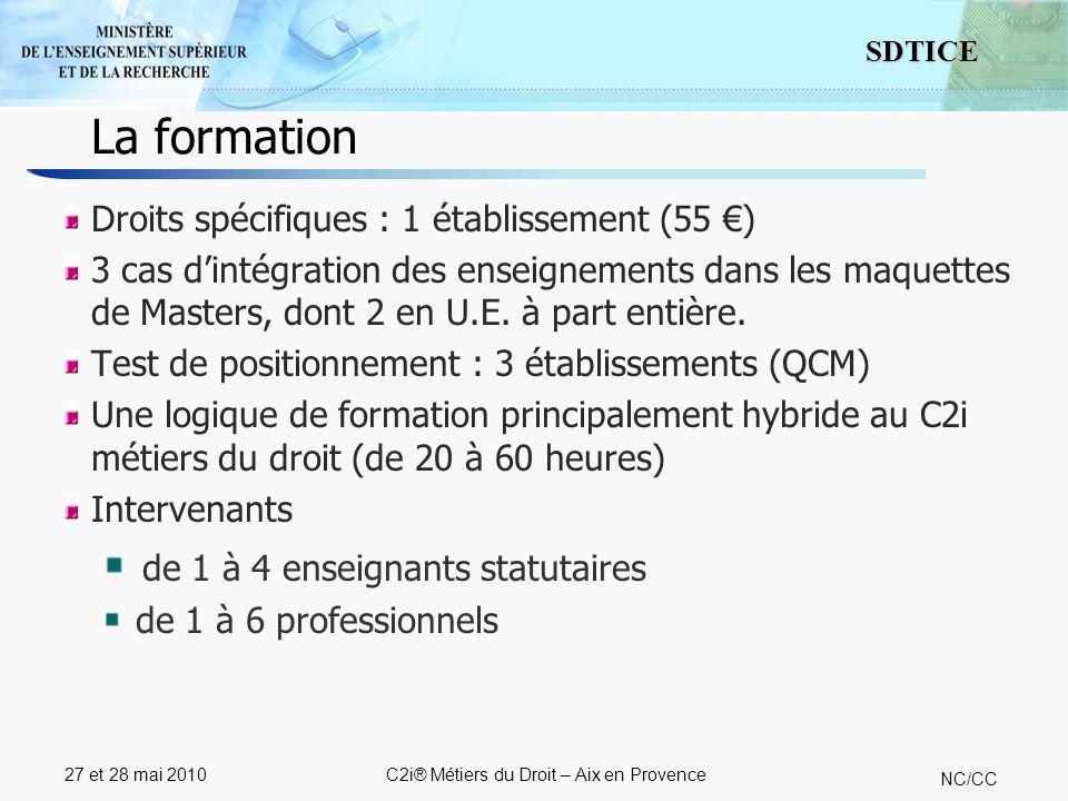 9 SDTICE NC/CC 27 et 28 mai 2010C2i® Métiers du Droit – Aix en Provence 5 établissements organisent QCM + épreuves pratiques 8 établissements organisent exclusivement des épreuves pratiques 1 établissement utilise également le stage professionnel pour la validation de compétences pratiques La certification