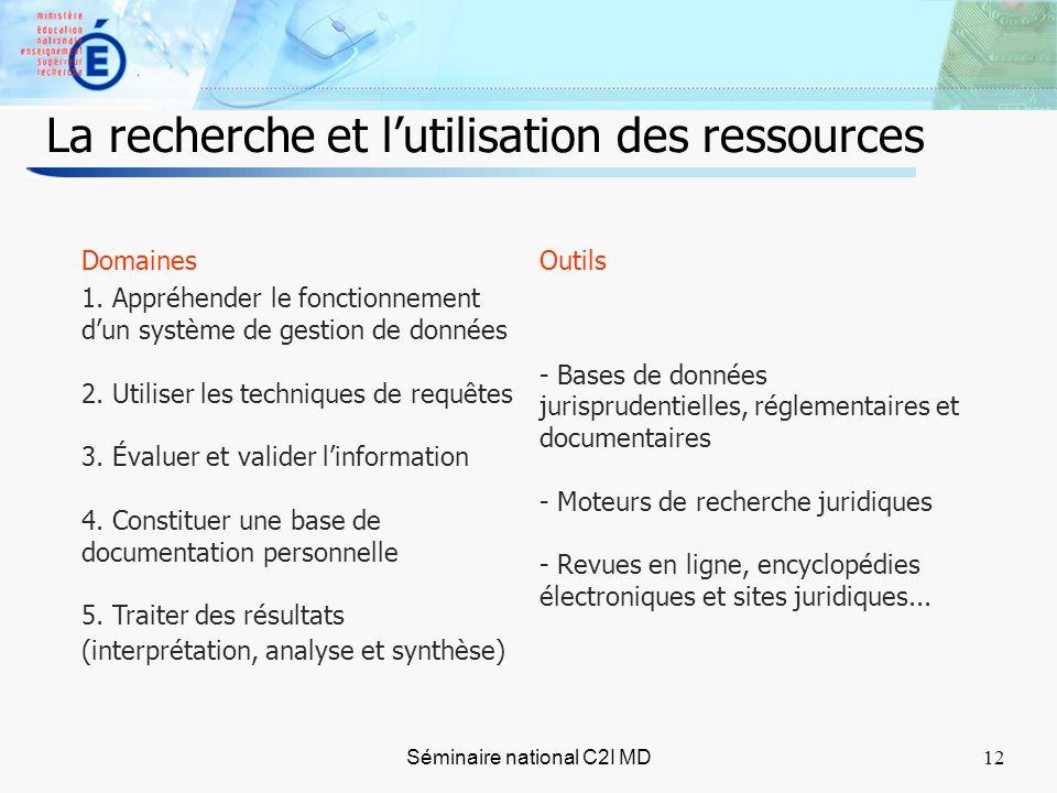 12 Séminaire national C2I MD12 La recherche et lutilisation des ressources Domaines 1.
