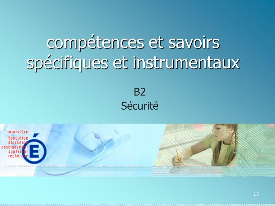 13 compétences et savoirs spécifiques et instrumentaux B2 Sécurité