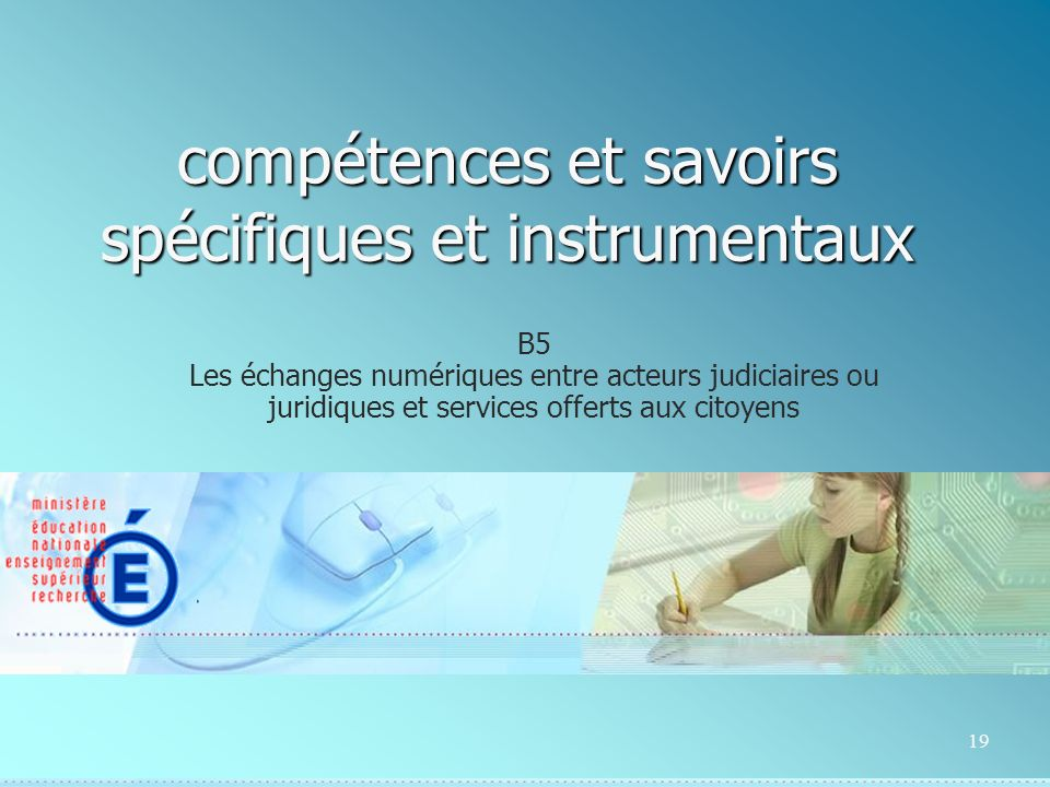19 compétences et savoirs spécifiques et instrumentaux B5 Les échanges numériques entre acteurs judiciaires ou juridiques et services offerts aux citoyens