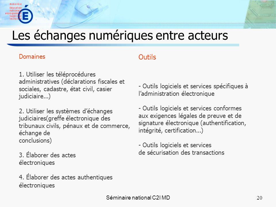 20 Séminaire national C2I MD20 Les échanges numériques entre acteurs Domaines 1.