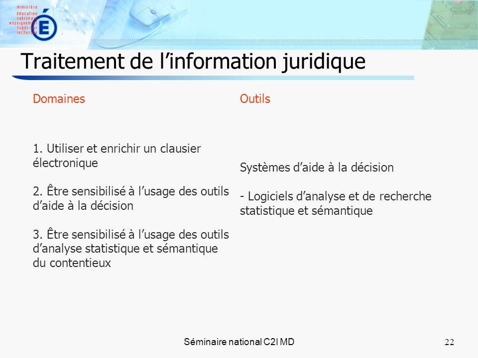 22 Séminaire national C2I MD22 Traitement de linformation juridique Domaines 1.