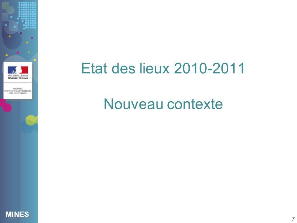 MINES Etat des lieux 2010-2011 Nouveau contexte 7