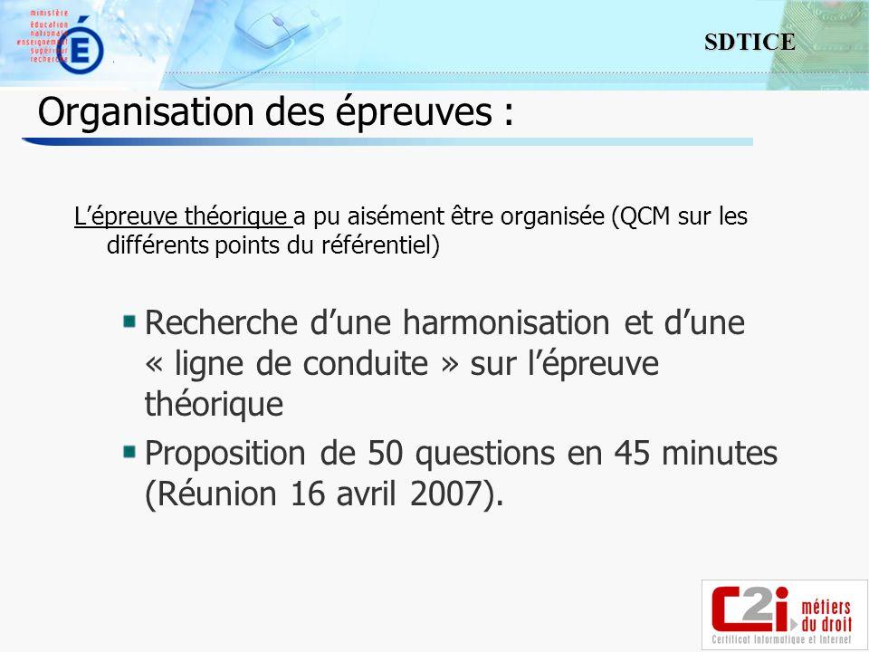 10 SDTICE Organisation des épreuves : Lépreuve théorique a pu aisément être organisée (QCM sur les différents points du référentiel) Recherche dune ha