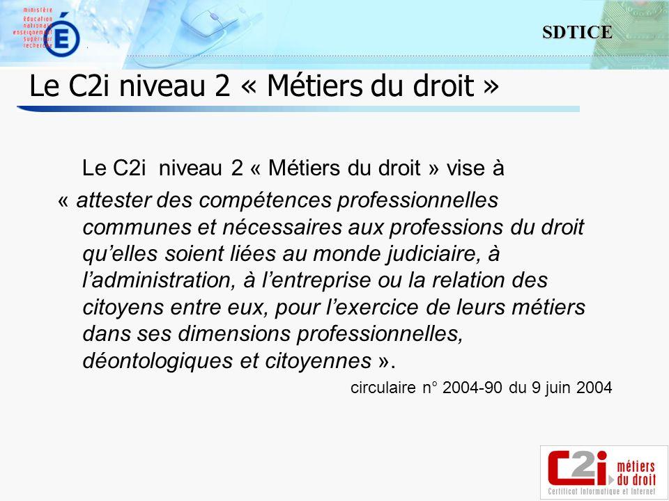 2 SDTICE Le C2i niveau 2 « Métiers du droit » Le C2i niveau 2 « Métiers du droit » vise à « attester des compétences professionnelles communes et néce