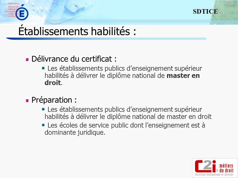 3 SDTICE Établissements habilités : Délivrance du certificat : Les établissements publics denseignement supérieur habilités à délivrer le diplôme nati