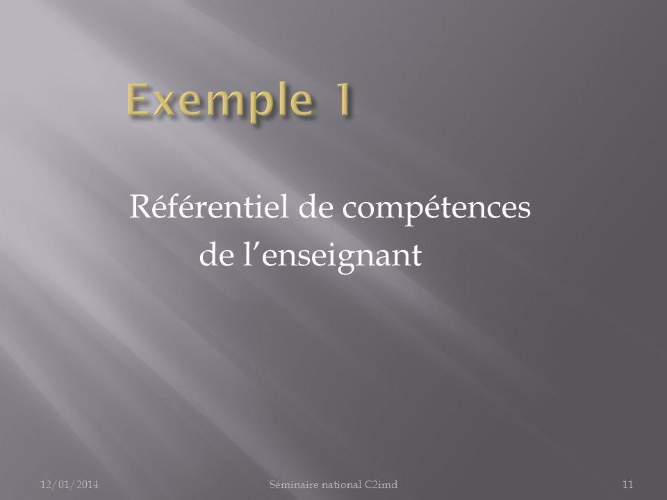 Référentiel de compétences de lenseignant 12/01/201411Séminaire national C2imd