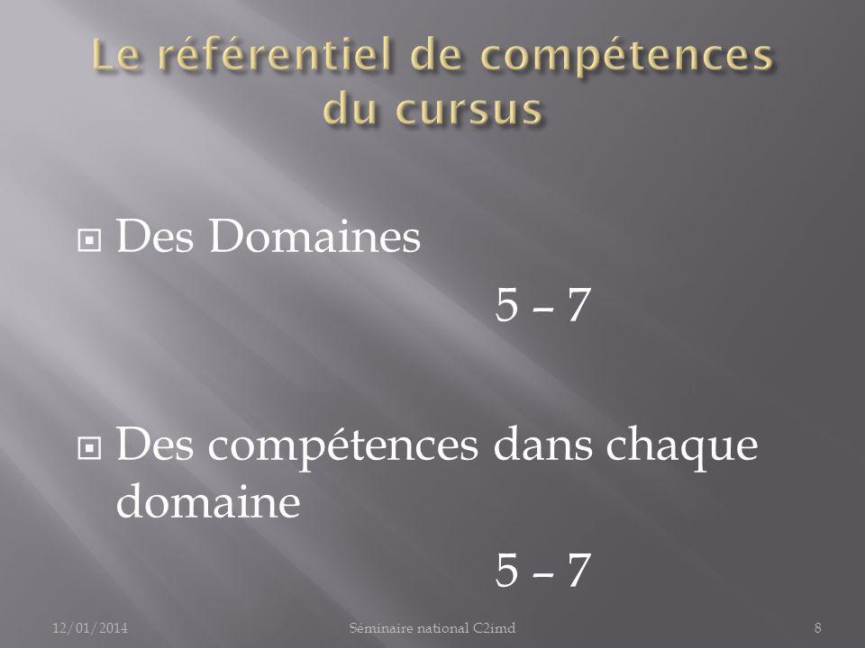 Des Domaines 5 – 7 Des compétences dans chaque domaine 5 – 7 12/01/20148Séminaire national C2imd