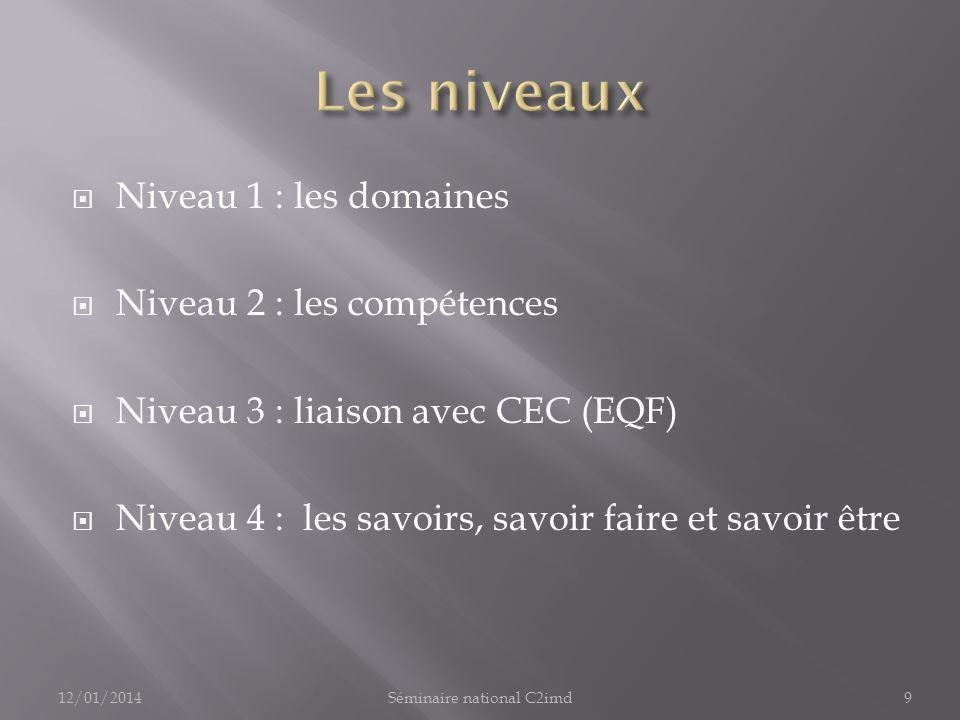 Niveau 1 : les domaines Niveau 2 : les compétences Niveau 3 : liaison avec CEC (EQF) Niveau 4 : les savoirs, savoir faire et savoir être 12/01/20149Séminaire national C2imd